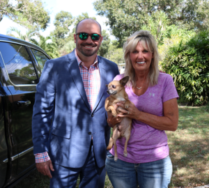 Mike Terrio with Barbi of Nala's New Life Rescue